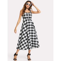 Zip Back Fit And Flared Plaid Dress