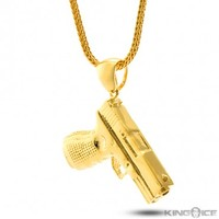 King Ice 14K Gold Handgun Necklace