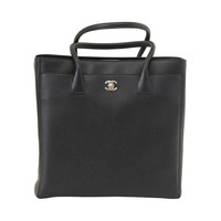 CHANEL bag Tall Cerf Tote black deerskin NEW
