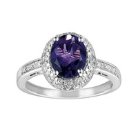 Sterling Silver Amethyst & Diamond Accent Oval Ring (Purple)