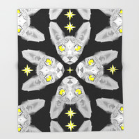 Sphynx Cat Black Pattern Throw Blanket by Chobopop