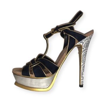 YSL Gold & Blue Platform Sandals - Sz 38.5