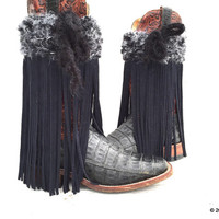 Black Fringe Boots, Black Leather Fringe, Fringe Boot Covers, Handmade Fringe Boot Covers,  Boho Boot Cuffs, Cowgirl Boot Covers,