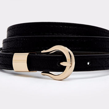 Black Metal Lock Leather Belt