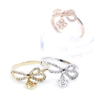 BOW dangling with tiny rose pendant Ring in 3 Colors