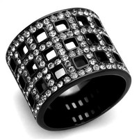 Ion Plated Black Stainless Steel & CZ Ring