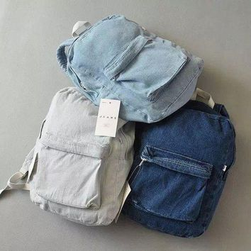 DCCK7XP Retro simple AA denim backpack bag men and women backpack large capacity bag casual solid color