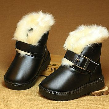 Winter children Plush Snow boots Kids black warm cotton rubber boots waterproof shallow baby shoes for girls and boys