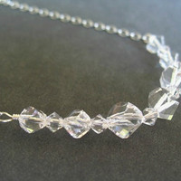 Clear Crystal Necklace Sterling Silver Under 50