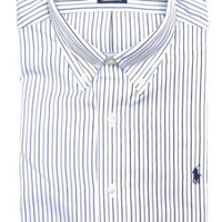 Ralph Lauren Men's Classics Button-down Dress Shirt Navy Blue and Medium Blue Pinstripes, Navy Pony (CLASSIC FIT)