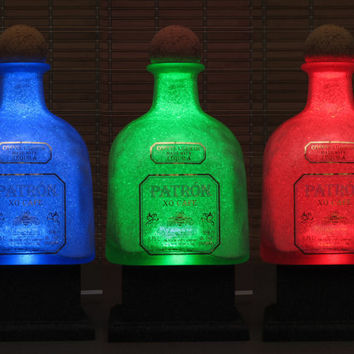 Big 1.75 Liter Patron XO Tequila Color Changing LED Remote Controlled Eco Friendly RGB led  Bottle Lamp/Party Light -Bodacious Bottles-