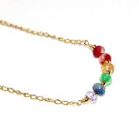 Dyed Rainbow Opal Necklace Ethiopian Opal Necklace Opal Jewelry Rainbow Necklace Fun Necklace Everyday Jewelry Colorful Necklace
