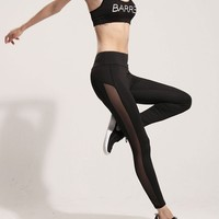 High Waist Mesh Splice Leggings