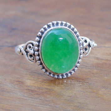 Green Jade Ring, Sterling Silver Jade Ring Jewelry,Jade Gemstone Ring, Green Jade Silver Ring, Green stone silver ring, Gemstone silver ring