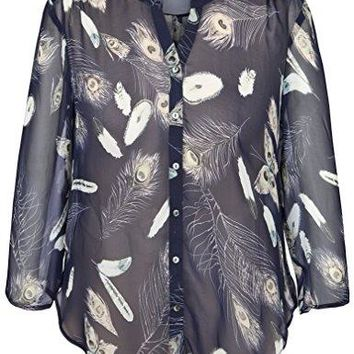 Chicwe Womens Plus Size Feather Printed Rolled Sleeves Button Down Blouse Shirt Top