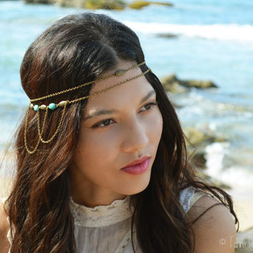 Chain Headpiece Boho Head Jewelry Bohemian Headband Headdress Gypsy Jewelry Chic Bohemian  Hair Jewelry Serena Double Strand