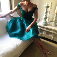 Ball Gown Blue Organza Lace V Neck Off The Shoulder Knee Length Short Prom Dresses 2017 New Arrivals High Quality Party Gowns
