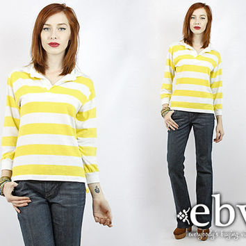 Vintage 70s Yellow + White Striped Rugby Shirt S M Striped Tee Striped Shirt