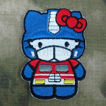 Hello Kitty  Optimus Prime Kitty Military Tactics Morale Embroidery patch B2754