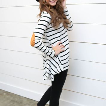 Long Sleeve Striped Tunic W/ Elbow Patch