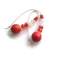 Big Red Earrings, Swarovsky Crystals, Wood and Crystals Pearl Earrings, Pearl Earrings, Small Hoop Earrings, Twin Jewelry, Fun Earrings,