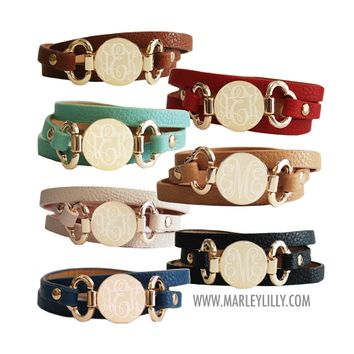 Monogrammed Beige Leather Wrap Bracelet   Accessories   Marley Lilly