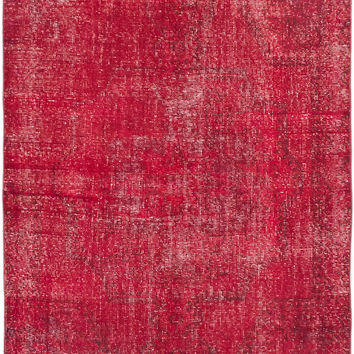 "4'5"" x 7'7"" Pink Red Turkish Overdyed Rug"