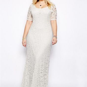 Black White Plus Size Lace Dress Summer Elegant Maxi Long Dress