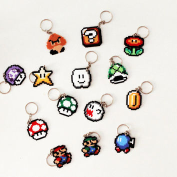 Super Mario Inspired Keychain. Cloud. 8 bit Mario Keyring or Brooch. Handmade.