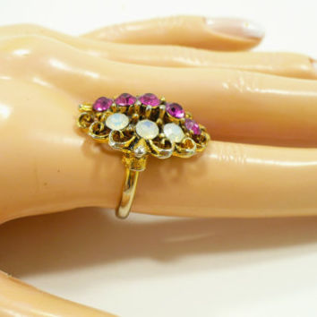 Vintage Faux Ruby & Opal Ring, Adjustable Size 7, Antique Gold Filigree, Raspberry Dark Pink, Repurpose Upcycle
