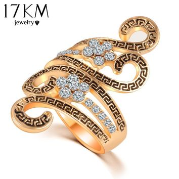 17KM High Quality Vintage Carving Ring Christmas gift Zircon Full Size Crystal Rings For Women Fashion Jewelry anillos mujer