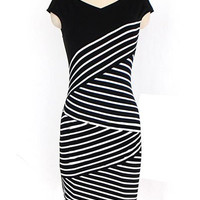 Black Striped Sleeveless Bodycon Dress
