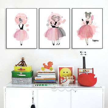 Watercolor Girls Canvas Art Print Poster,  Wall Pictures for Girl Room Decoratio