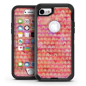 The Red and Purple Grungy Gold Semi-Circles - iPhone 7 or 7 Plus OtterBox Defender Case Skin Decal Kit