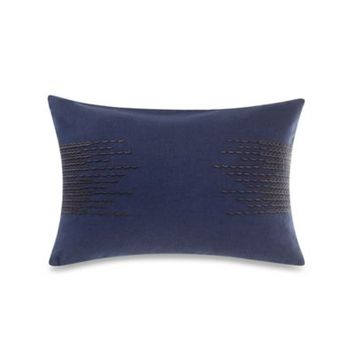 Kenneth Cole Reaction Home Mineral Embroidered Oblong Throw Pillow in Navy