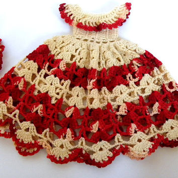 Vintage Crochet Doll Dress & Hat 1940s '50s for Storybook Type Display Doll. Red and Ivory