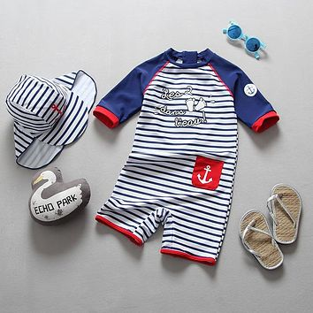 Childrens Swimsuit Cute Baby Clothes Summer Kids s for Boys Swimwear Child One Piece Stripe Anchor Long Sleeve Children s Bathing Suit KO_25_2
