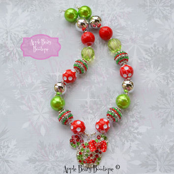 Christmas Minnie Chunky Necklace Minnie mouse necklace Christmas Necklace Minnie mouse chunky necklace Minnie Mouse bubblegum necklace