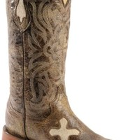Ferrini Distressed Cowhide Cross Cowgirl Boots - Wide Square toe - Sheplers
