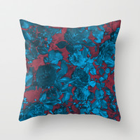 Roses Are Blue Throw Pillow by Shawn King