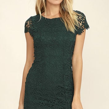 Hidden Talent Backless Forest Green Lace Dress