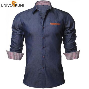 UNIVOS KUNI Men's Denim Casual Long-Sleeve Slim Fit Shirt