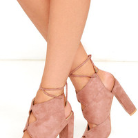 Spoken Word Blush Suede Peep-Toe Heels
