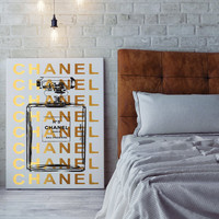 24x36 large Chanel poster,digital file, instant download, coco chanel, chanel no5 canvas, gold foil effect, gold, no5 art