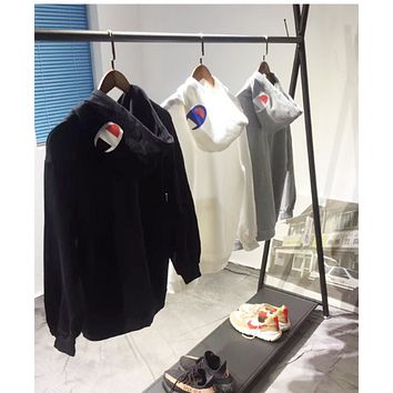 Champion Even the hoodie and hoodie street fashion movement retro style prints 100 men and women jackets White