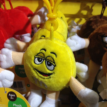 M&M's World Yellow Character Plush Keychain New with Tags