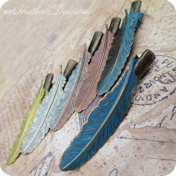 Patina Plume: aged brass and vintage patinated detailed feather alligator hair clip barrette set - you pick color