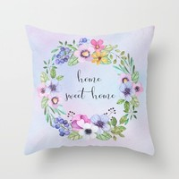 Home sweet home -blue Throw Pillow by Sylvia Cook Photography