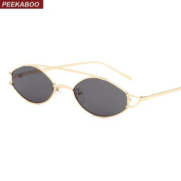Peekaboo vintage tiny sunglasses for women oval 2019 silver gold frame metal small sun glasses for men gift uv400