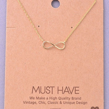 Infinity Sign Pendant Necklace - Gold, Silver or Rose Gold